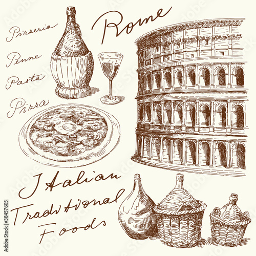 Photo  hand drawn italian food and architecture