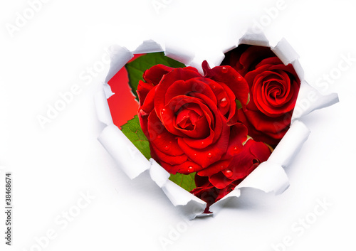 Fototapeta Art bouquet of red roses and the paper hearts on Valentine's Day obraz