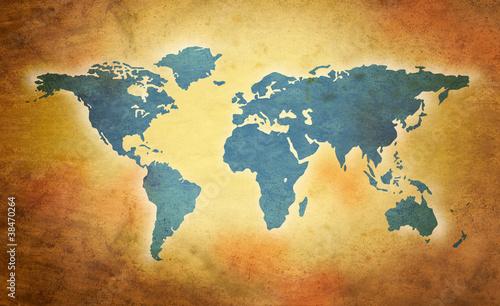 Poster Carte du monde world grunge map