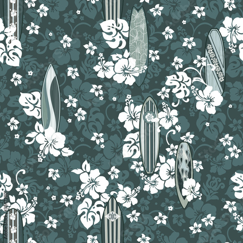 Surfboards with hibiscuses seamless pattern