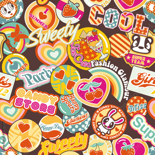 mata magnetyczna Cute pins and stickers, seamless pattern