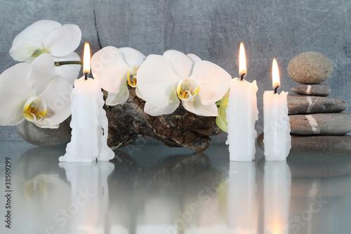 Doppelrollo mit Motiv - Stilleben, Orchideenblüten mit Kerzen