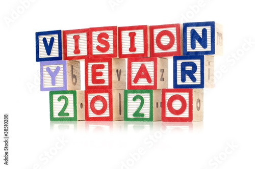 Poster Alphabet blocks spelling Vision Year 2020