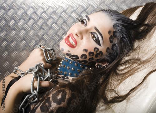 Printed kitchen splashbacks woman with leopard make up