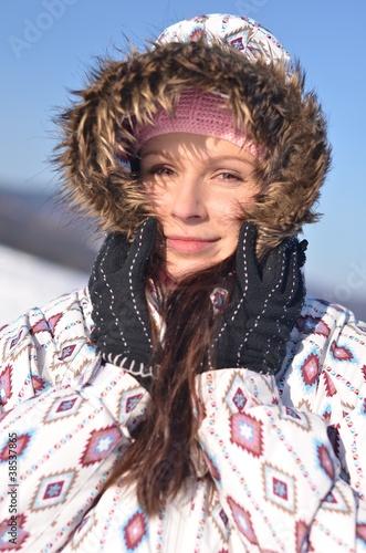 Deurstickers Droogte winter woman