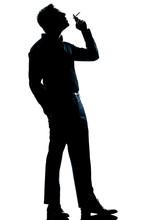 Silhouette Man Smoking Cigarette Full Length