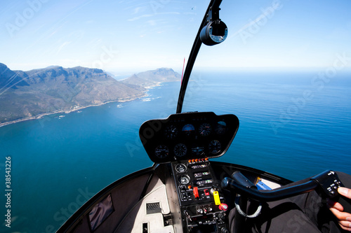 Foto op Aluminium Helicopter beautiful Cape Town coastal aerial view from helicopter