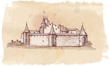Medieval Castle Aigle In Switzerland. (Chateau D'Aigle) - A Ve