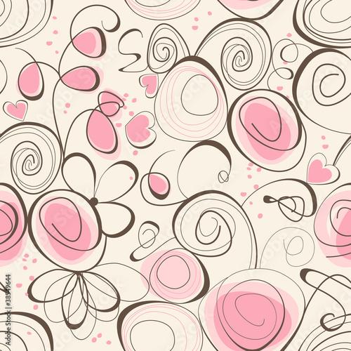 Tuinposter Abstract bloemen Calligraphic romantic seamless pattern