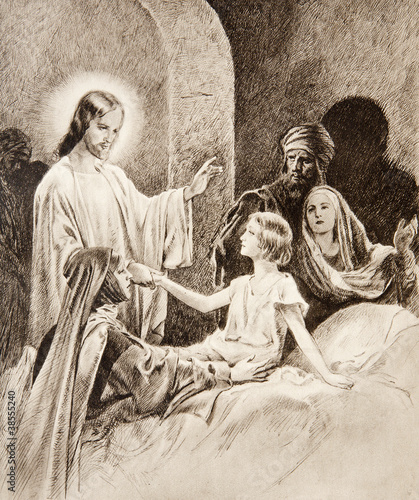 Valokuva The Resurrection of the Daughter of Jairus - old lithography