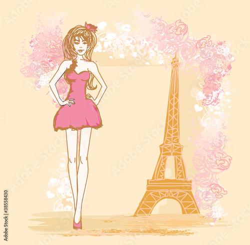 Tuinposter Doodle beautiful women Shopping in Paris