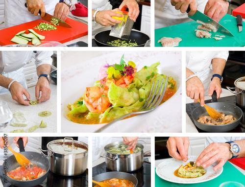 Fotografie, Obraz  chef cooking ravioli