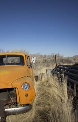 Old abandoned orange truck