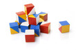 Colorful wooden blocks on white background
