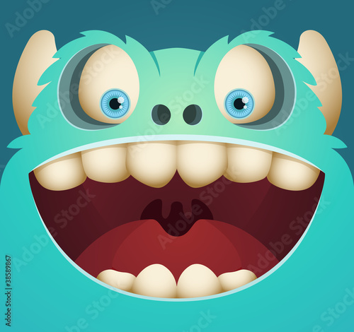 Aluminium Prints Creatures Happy Blue Monster