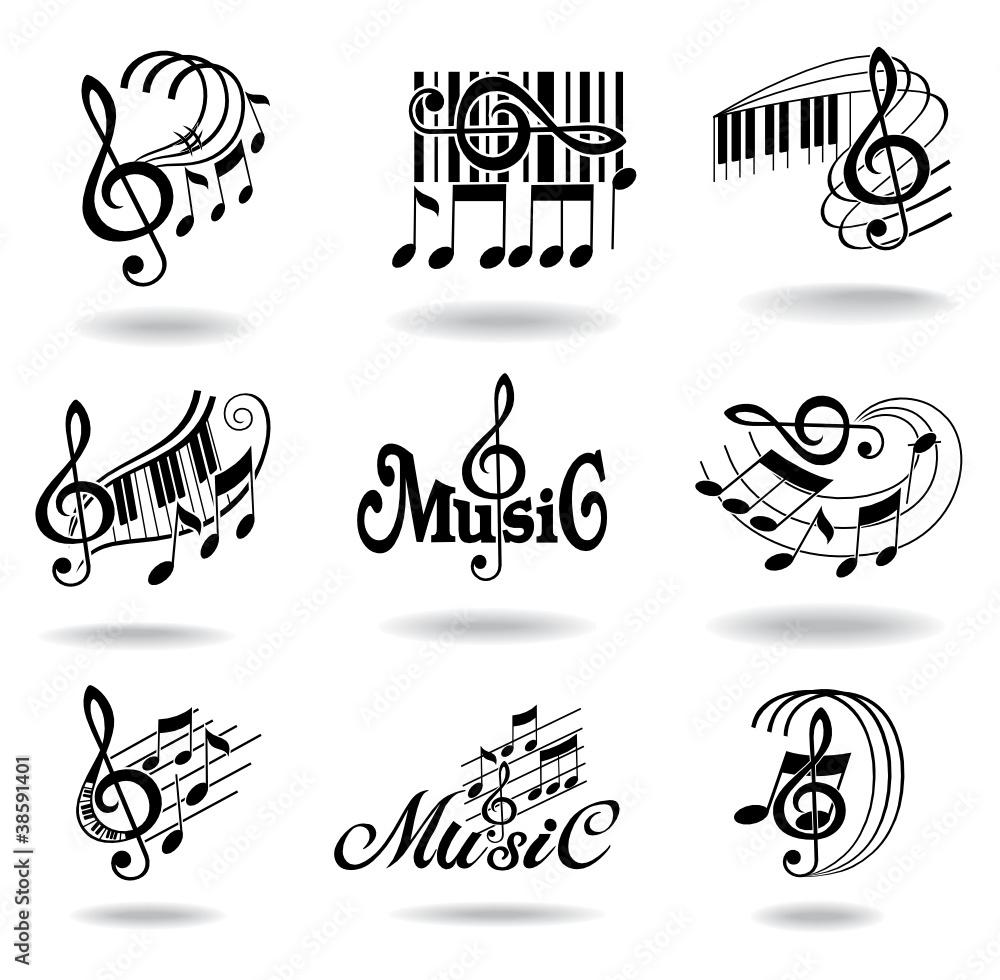 Fototapeta Music notes. Set of music design elements or icons.