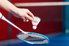 Badminton In Einer Turnhalle -...