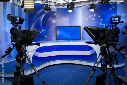 Valokuvatapetti TV studio with camera and lights
