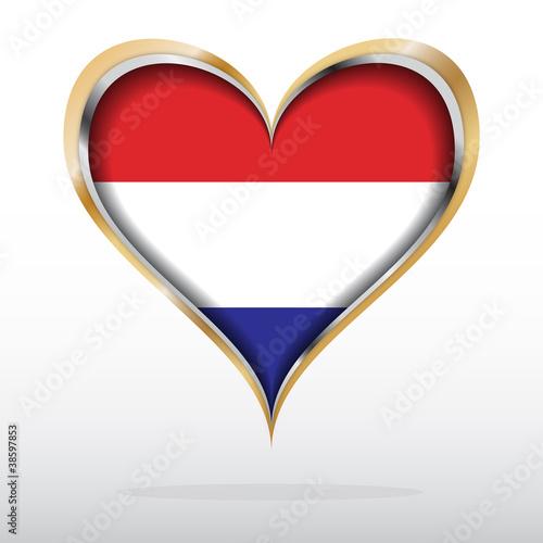 Fototapeta Vector illustration of Dutch flag in golden heart