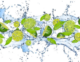 Obraz Fresh limes in water splash,isolated on white background