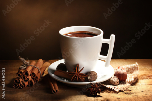 Canvas Prints Chocolate cup of hot chocolate, cinnamon sticks, nuts and chocolate