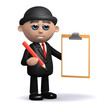 3d Bowler hat businessman with clipboard