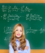 kid smart student girl with difficult math formula
