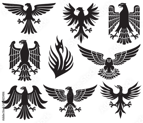 Tableau sur Toile heraldic eagle set