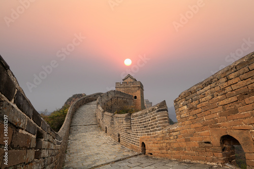 Poster Pékin the great wall of china at sunrise