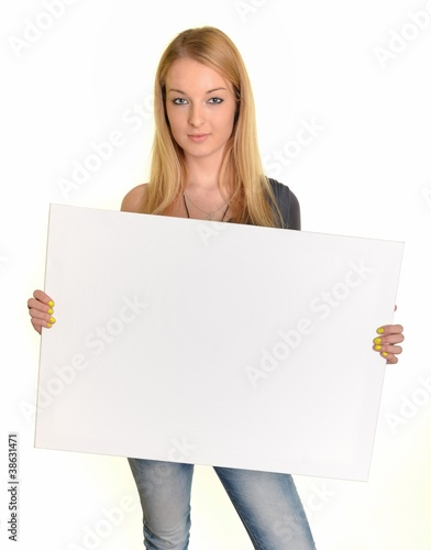 Fotografie, Obraz  femme avec paper isolé