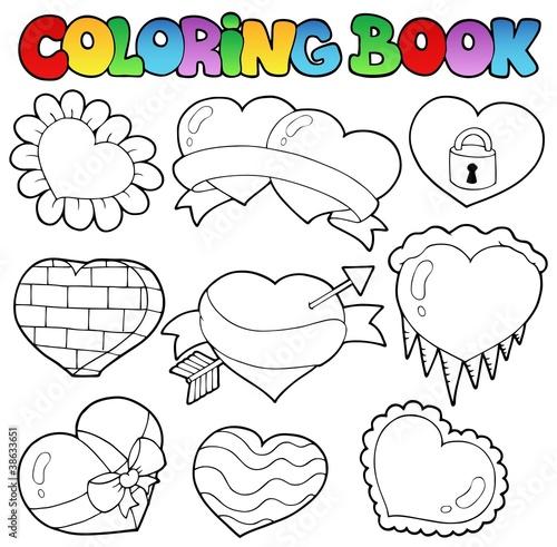 Türaufkleber Zum Malen Coloring book hearts collection 1