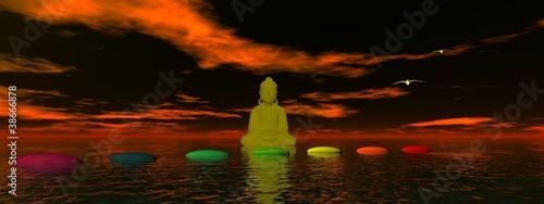 Doppelrollo mit Motiv - steps chakra and buddha