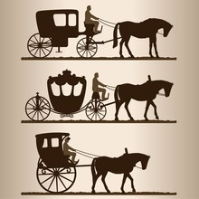 Silhouettes Of Horse-drawn Car...