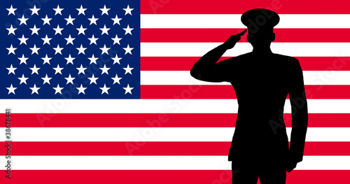 Photo  A american soldier saluting