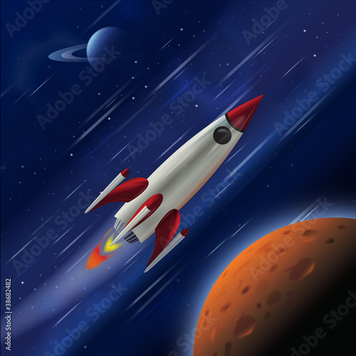 Fotografie, Obraz  A fast rocket zooming through space