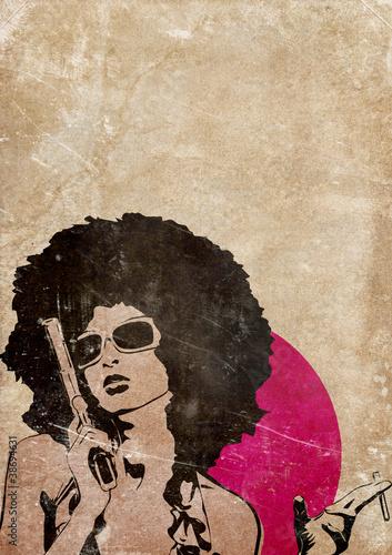 retro-ilustracja-kobieta-w-afro-z-pistoletem