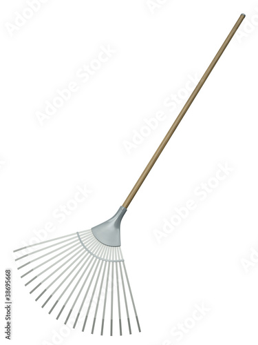 Obraz na plátně Leaf rake isolated on white background. 3D render.