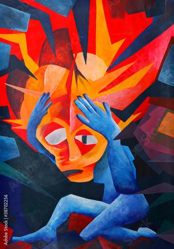 splitting headache - acryl auf Leinwand (gemalt vom Fotograf) Wallpaper Mural
