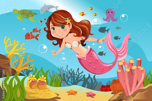 Tuinposter Zeemeermin Mermaid in ocean