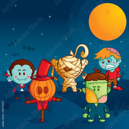 Foto op Canvas Schepselen Halloween monster parade