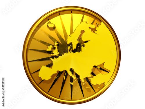 Fotografie, Obraz  Landkarte von Europa auf goldener Medaille mit Strahlenkranz