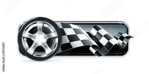 Staande foto Cartoon cars Racing banner with car wheel