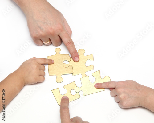 Fototapety, obrazy: hand with puzzle