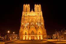 Famous Notre-Dame De Reims At Night, France
