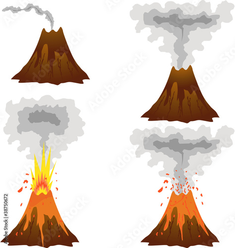 Different stages of volcano icon set on white Fototapete