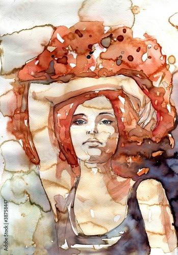 Obraz Abstrakcyjna kobieta, hipis, lata 70 - fototapety do salonu