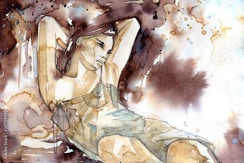 Photo sur Aluminium Inspiration painterly Akt kobiety w pozycji półleżącej