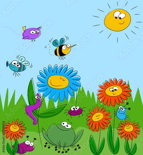 Naklejki dla dzieci  kolorowe-lato-kwiatowy-tlo