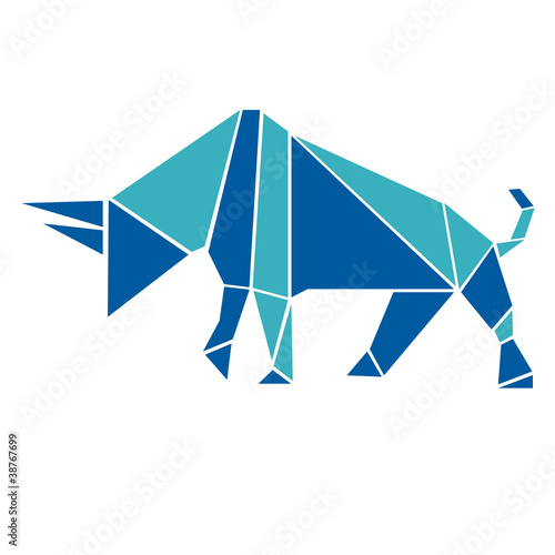 Poster Geometric animals Bull in origami style logo