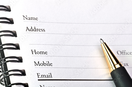 A blank page of open  address book. Wallpaper Mural